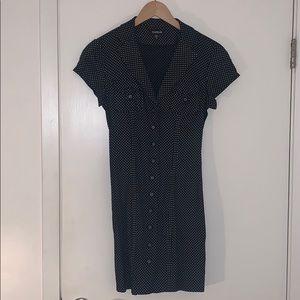 Bebe Short Sleeve Button Up Polka Dot Dress